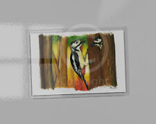 Great Spotted Woodpecker art picture magnet. 9.5cm x 6.5cm