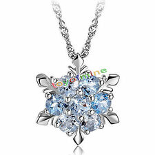 Navidad  Copo De Nieve Collar 925 Plata Azul Elemento De Cristal