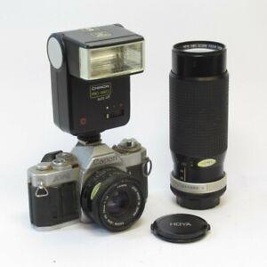 Canon AV-1 Camera + FD 50mm 1:1.8 & Hoya 100-300mm 1:5.6 (spares/repairs)