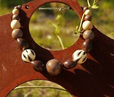"""Large wood nut bead silver tone clasp 17"""" plus 3"""" extension   NECKLACE"""