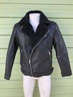 NWT ZARA BLACK FAUX LEATHER Double face biker jacket SIZE M  Ref: 3548 304 800