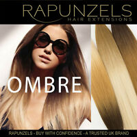 """Clip in 20"""" Ombre balayage dip dye hair weft Rapunzels remy human weave"""