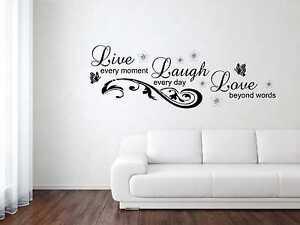 Wandtattoo Aufkleber Live - Laugh - Love - 4 Gr. inkl. Rakel Liebe Ornament W246