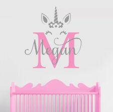 Custom Unicorn Nursery Children Wall Decal Sticker Initial Kid Baby Name