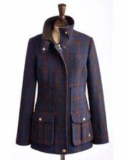 Joules Ladies Womens Field Coat Fieldcoat 12 BNWT Navy Check Wool Jacket Tweed