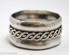 ROND de SERVIETTE ART DECO mi-XXè métal argenté décor chaine