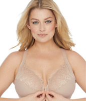 GLAMORISE CAFE ELEGANCE FRONT CLOSE WONDERWIRE® BRA, SIZE US 44G