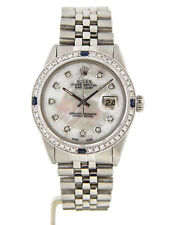 Rolex Datejust Stainless Steel Watch White MOP Dial Diamond Blue Sapphire Bezel