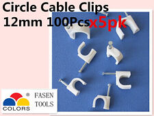 500Pcs 12mm Circle White Cable Clips Cable Plastic Nail