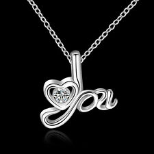 "SALE Silver Plated 925 Love ""You"" Heart Shaped Crystal CZ Pendant & Necklace."