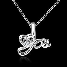"""Vente plaqué argent 925 LOVE """"Vous"""" en forme de cœur Cristal Cz Pendentif & Collier."""