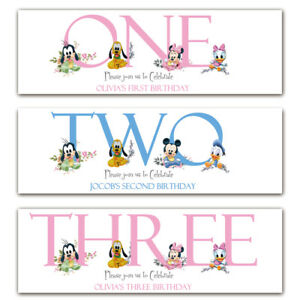 2 personalised birthday banner mickey minnie mouse children baby party poster