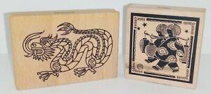Rubber Ink Stamp on Beech Block X 2 Stylised Dragon & Children Lanterns oriental