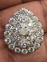 Pave 4,90 Cts Rund Birne Cut Natürlichen Diamanten Anhänger In 750 Fein 18K Gold