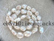 "freshwater pearl  white flat 10-14mm  reborn keshi  15"" nature beads  wholesale"