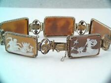 LG RARE ANTIQUE VICTORIAN ITALIAN STERLING SILVER CAMEO BRACELET STUNNING LOOK