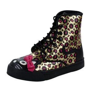 TUK Womens Gold Kiss Leopard Print Kitty Bow Sneaker Combat Boot Shoes Sz 7