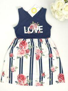 size 2/3/4/6/8 years new girls dress navy & white love & roses stripe dress