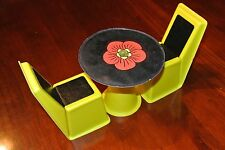 Vintage 1960's Barbie Furniture for Family House -Yellow Chairs & Table-Lot of 3