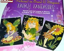4 in 1:Sequin Art Craft Activity Kit-4 Fairy Template,6 colors Sequin & Sand DIY