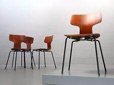 4x Fritz Hansen, Arne Jacobsen 3103 von 1963, Teakstuhl Hammer Chair Vintage