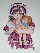 """Finished Cross Stitch Jan Hagara LYDIA Doll Double Mat 20"""" x 16"""""""