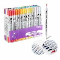 100 Colour Dual Tip Brush Pens w/ Fine liners Colouring Art Markers Drawing Hot