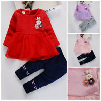 2pcs toddler Kids baby girls clothes long sleeve outfits & set top+pants