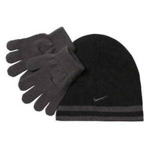 Youth Kids Boys Winter Beanie Hat & Gloves Set Nike Black Gray-size 8-20