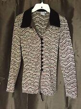 VINTAGE Sally USA Womens Long Sleeve Shirt w/Shimmer & Velvet Accents Size Med