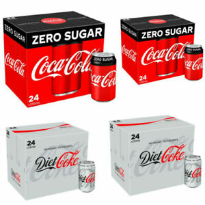 NEW REAL Coke Zero Sugar Diet Cock Pack of 24 330 ml Cans Fizzy Drink Coca-Cola