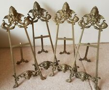 SET FOUR VINTAGE CAST BRASS PICTURE FRAME TABLE EASEL HOLDER DISPLAY STANDS