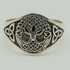 Tree of Life 925 silver ring Celtic Triskele Trinity Knotwork Pagan Viking M - X