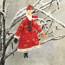 Fabric Father Christmas Decoration Gisela Graham Nordic Star Tree Red Ice Skates