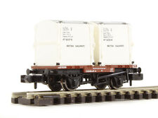 GRAHAM FARISH N GAUGE 377-340A WAGON CONFLAT W/AF CONTAINER WHITE FAR377340A