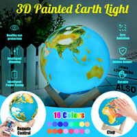 3D Painted Earth Lamp Touch Switch Earth Desk Night Light Office Home Decor Gift