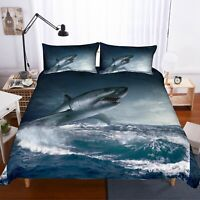 3D Surfing Shark Quilt Cover Set Bedding Duvet Cover Single/Queen/King 3pcs 7