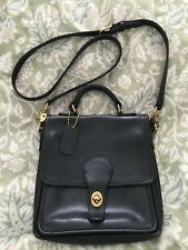 COACH Black Glove Leather WILLIS Station Bag Messenger Vintage Crossbody-5130