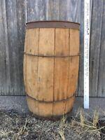 "Vintage Wooden Primitive Wire Banded Nail Keg Barrel HEAVY-DUTY 18"" x 14 dia."