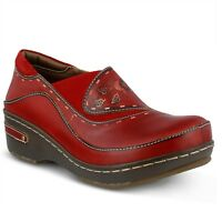 L'Artiste Burbank Women's Red Hand Painted leather closed back clog  EUR 40 DS
