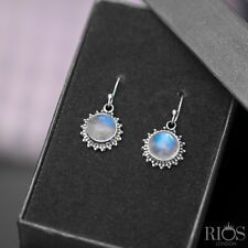 925 Sterling Silver Moonstone Ear Drop Dangle Earrings Hook Studs Gift Boxed