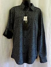 Tranquility Mayhem Shirt Size M NWT Black Floral 100% Cotton Long Sleeve Adjust
