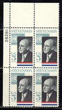 #1275 1965 5-cent Adlai Stevenson block of 4 MNH w/plate#