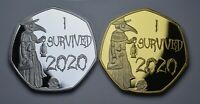 Pair of 'I SURVIVED 2020' Silver & 24ct Gold Commemoratives Gift/Present/Novelty