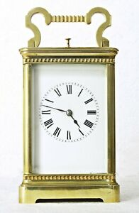 """LGE ANTIQUE COUAILLET FRENCH GILT BRASS STRIKING & REPEATING CARRIAGE CLOCK 7.5"""""""