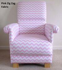 Pink Zig Zag Fabric Adult Chair Armchair White Chevrons Nursery Bedroom Nursing