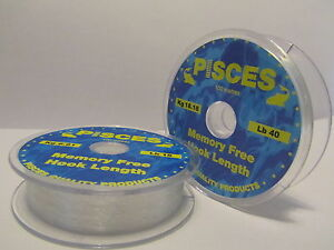 1 x 100 MT SPOOL OF PISCES MEMORY FREE HOOK LENGTH ( 5 SIZES )
