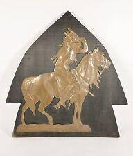 Vintage American FOLK ART Wooden Arrowhead Copper INDIAN Horse Primitive