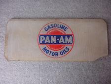 Original Old Vtg PAN-AM Gas Pump Glass Insert Sign Plate Advertisement Motor Oil
