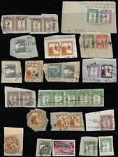 PALESTINE 1920 COLL OF 32 REVENUE STAMPS INCLUDING POSTAGE USED FOR RENUES